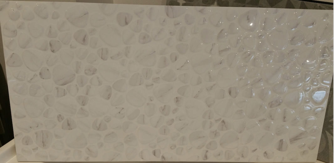 Buy 30x60 White Rectified Feature Wall Pebble Tiles Online