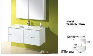 Willow Wall Hung Vanity 1200mm-WH8027-1200W