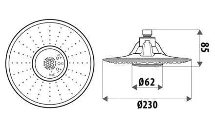 bush shower technical drawing